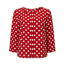 Buy Phase Eight Marilyn Spot Blouse, Red/Camel Online at johnlewis.com