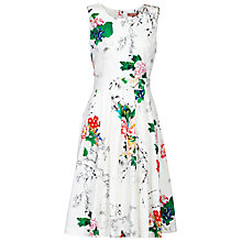 Buy Jolie Moi Floral Fifties Pleated Dress, White Online at johnlewis.com