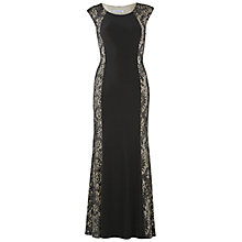 Buy Gina Bacconi Long Jersey Dress With Lace Panels, Black Online at johnlewis.com