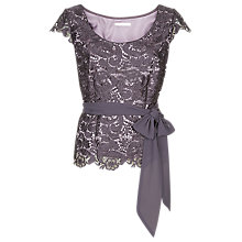 Buy Jacques Vert Lace Belted Top, Purple Online at johnlewis.com