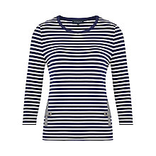 Buy Viyella Chambray Trim Striped Jersey Top, Navy Online at johnlewis.com