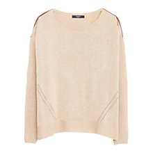 Buy Mango Openworrk Trim Sweater, Medium Brown Online at johnlewis.com