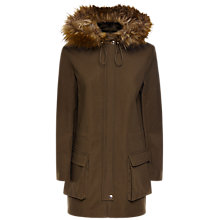 Buy Jaeger Faux Fur Trim Parka, Olive Online at johnlewis.com