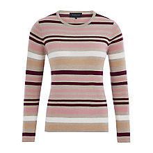 Buy Viyella Merino Wool Stripe Jumper, Purple Online at johnlewis.com