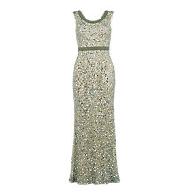 Buy Gina Bacconi Round Neck Sequin And Beaded Gown, Oyster Online at johnlewis.com