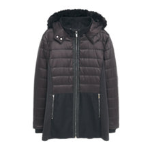 Buy Violeta by Mango Faux Fur Applique Coat, Black Online at johnlewis.com