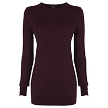 Buy Warehouse Button Cuff Jumper, Berry Online at johnlewis.com