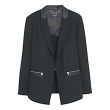 Buy Violeta by Mango Zip Detail Blazer, Black Online at johnlewis.com