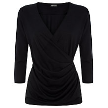 Buy Jaeger Side Pleat Wrap Top, Black Online at johnlewis.com