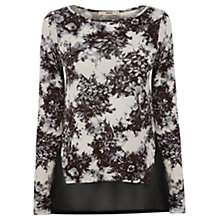 Buy Oasis Gothic Brush Stroke Top, Black/White Online at johnlewis.com