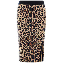 Buy Jaeger Leopard Print Skirt, Camel/Black Online at johnlewis.com