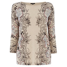 Buy Warehouse Tapestry Floral Print Top, Cream Online at johnlewis.com