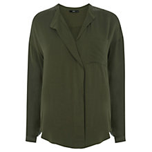 Buy Oasis Soft Frill Shirt,  Khaki Online at johnlewis.com