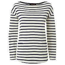 Buy Jaeger Winter Breton Top, Ivory/Navy Online at johnlewis.com