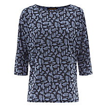 Buy Jaeger Brushstroke Print T-Shirt, Blue Online at johnlewis.com