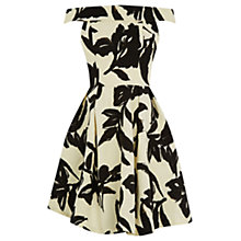 Buy Warehouse Textured Bardot Prom Dress, Ivory/Black Online at johnlewis.com