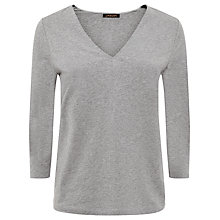 Buy Jaeger Jersey V-Neck Top, Light Grey Melange Online at johnlewis.com