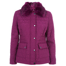Buy Precis Petite Faux Fur Quilted Coat, Dark Pink Online at johnlewis.com