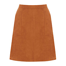 Buy Oasis Isabella Popper Front Skirt, Tan Online at johnlewis.com