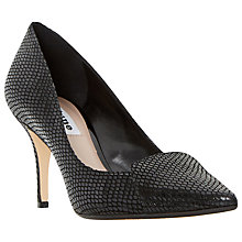 Buy Dune Amanda Reptile Pattern Court Shoes, Black Leather Online at johnlewis.com
