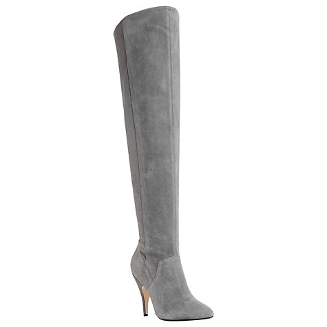 Buy Dune Stretchy Over the Knee Heeled Boots, Grey Suede Online at johnlewis.com