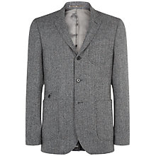 Buy Jaeger Herringbone Tweed Wool Slim Blazer, Grey Melange Online at johnlewis.com