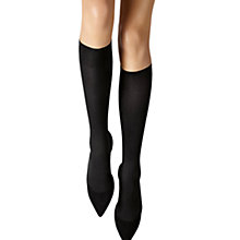 Buy Wolford Louise Rib Knee High Socks, Black Online at johnlewis.com
