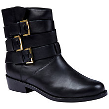 Buy Ted Baker Nokit Low Block Heel Buckle Detail Boots, Black Leather Online at johnlewis.com