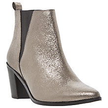 Buy Dune Preslee Pointed Toe V-Cut Chelsea Boot, Pewter/Metallic Leather Online at johnlewis.com