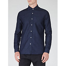 Buy Reiss Fabrizio Slim Fit Chambray Shirt, Indigo Online at johnlewis.com