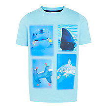 Buy John Lewis Boys' Shark Photographic T-Shirt, Aqua Online at johnlewis.com