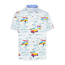 Buy John Lewis Boys' Tropical Car Print Shirt, Cream/Multi Online at johnlewis.com