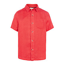 Buy John Lewis Boys' Short Sleeve Linen Shirt, Red Online at johnlewis.com