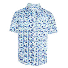 Buy John Lewis Boys' Floral Short Sleeve Shirt, Blue Online at johnlewis.com