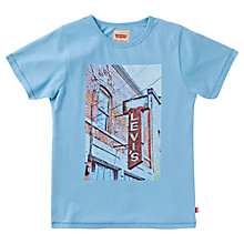 Buy Levi's Boys' Short Sleeve Print T-Shirt, Blue Online at johnlewis.com