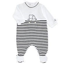 Buy Emile et Rose Baby Harvey Stripe Sleepsuit, Navy/White Online at johnlewis.com