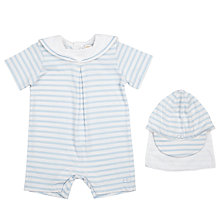 Buy Emile et Rose Baby Heston Stripe Playsuit and Hat, White/Blue Online at johnlewis.com