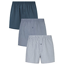 Buy John Lewis Simon Woven Cotton Boxers, Pack of 3, Navy Online at johnlewis.com
