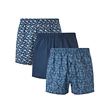 Buy John Lewis Paisley Floral Woven Cotton Boxers, Pack of 3, Navy Online at johnlewis.com
