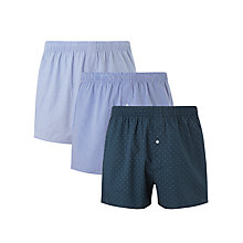 Buy John Lewis Jon Cotton Boxers, Pack of 3, Blue Online at johnlewis.com