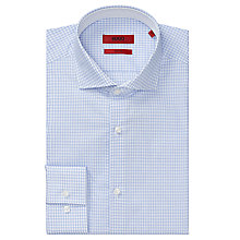 Buy HUGO Jery Check Slim Fit Shirt, Light Blue Online at johnlewis.com