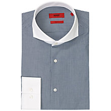 Buy HUGO Johann Slim Fit Cotton Shirt, Navy/White Online at johnlewis.com