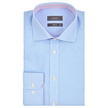 Buy John Lewis Bengal Stripe Tailored Fit XL Sleeve Shirt, Blue Online at johnlewis.com