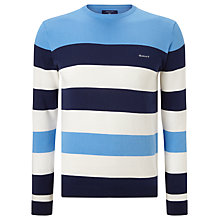 Buy Gant Yacht Stripe Crew Neck Jumper, Pacific Blue Online at johnlewis.com
