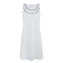 Buy John Lewis Block Flower Print Chemise, Navy/White Online at johnlewis.com