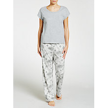 Buy John Lewis Botanical Print Pyjama Set, Grey/White Online at johnlewis.com