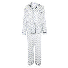 Buy John Lewis Block Flower Print Pyjama Set, Navy/White Online at johnlewis.com