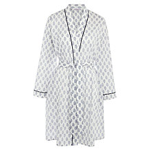 Buy John Lewis Block Flower Print Cotton Robe, White/Navy Online at johnlewis.com