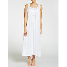 Buy John Lewis Classic Lace Trim Jersey Nightdress, White Online at johnlewis.com