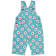 Buy Frugi Organic Baby Alex Flower Twill Dungarees, Blue/Pink Online at johnlewis.com